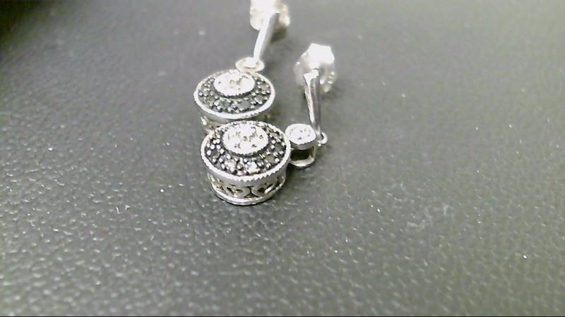 Black Stone Silver-Diamond & Stone Earrings 16 Diamonds .16 Carat T.W.