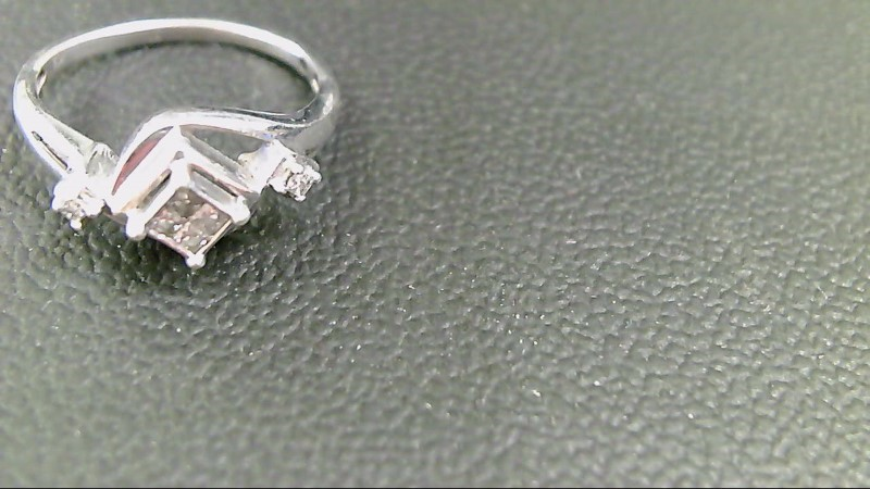 Lady's Silver-Diamond Ring 6 Diamonds .24 Carat T.W. 925 Silver 1.8g