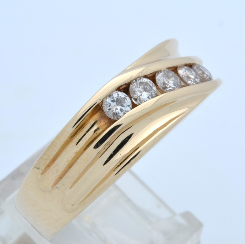 VINTAGE 5 NATURAL DIAMOND WEDDING RING BAND REAL SOLID 14K GOLD 12.5