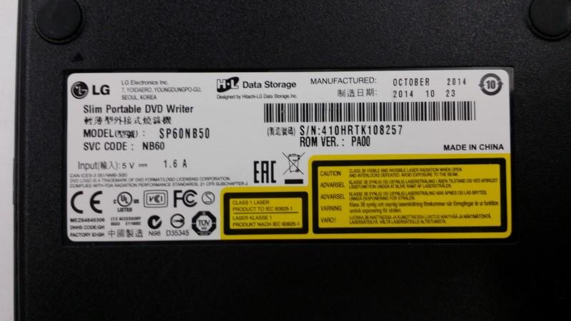 LG  SP60NB50 LG  SP60NB50 EXTERNAL DVD DRIVE