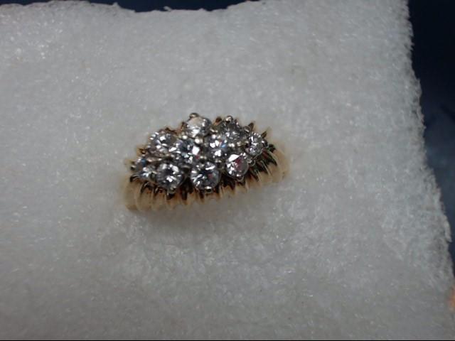 Lady's Diamond Cluster Ring 10 Diamonds .10 Carat T.W. 14K Yellow Gold 4.42dwt