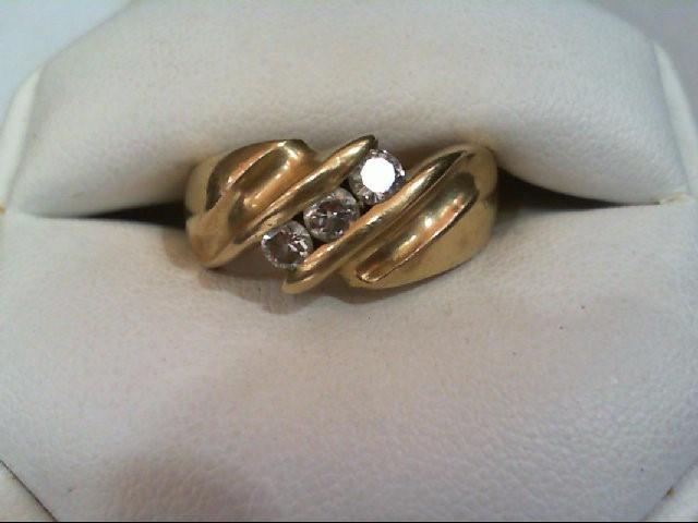 Lady's Diamond Wedding Band 3 Diamonds .39 Carat T.W. 14K Yellow Gold 11.4g