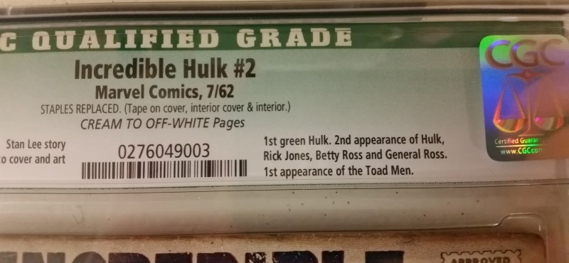 The Incredible Hulk #2 Jul 1962 CGC Qualified .5 TOAD MEN First Green Hulk 12c