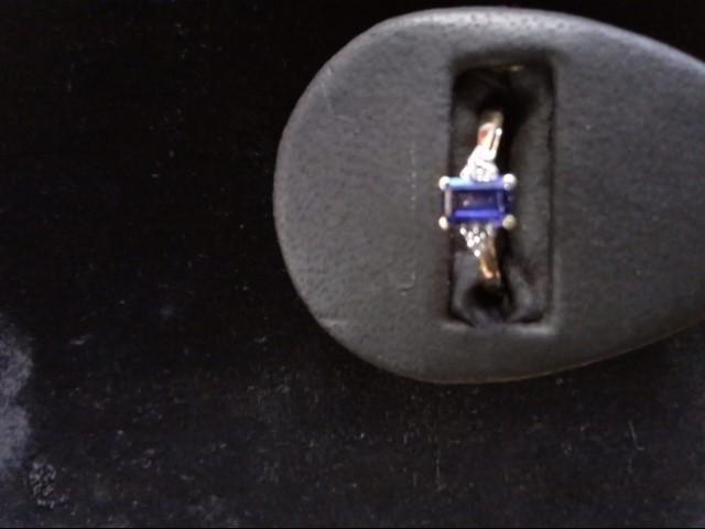 Purple Stone Lady's Stone & Diamond Ring .001 CT. 10K Yellow Gold 1.5g Size:7