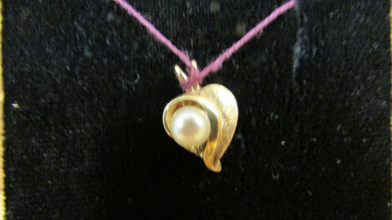 Synthetic Pearl Gold-Stone Pendant 14K Yellow Gold 1.4g