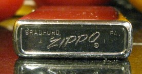 1971-2 Chrome Zippo, Marked I on each side of the bottom