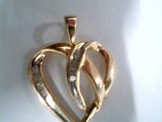 Gold-Multi-Diamond Pendant 12 Diamonds .12 Carat T.W. 14K Yellow Gold 1.7g