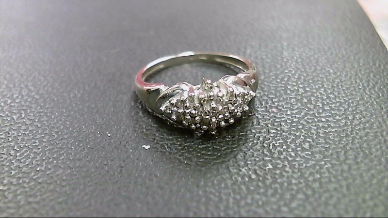 Lady's Diamond Cluster Ring 20 Diamonds .20 Carat T.W. 10K White Gold 2.5g