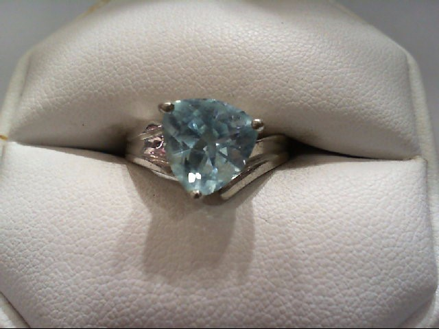 Blue Topaz Lady's Silver & Stone Ring 925 Silver 3.8g
