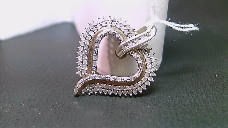Silver-Diamond Pendant 98 Diamonds .98 Carat T.W. 925 Silver 5.1g