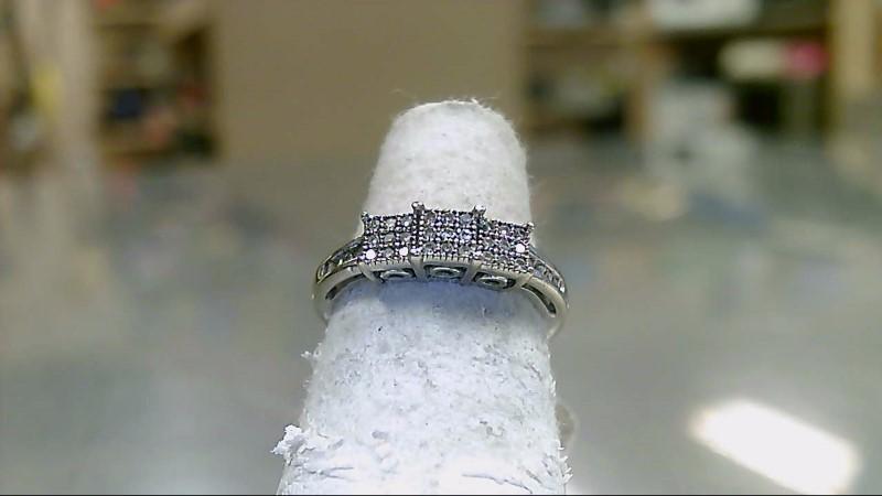 Lady's Diamond Cluster Ring 35 Diamonds .35 Carat T.W. 10K White Gold 2.2g