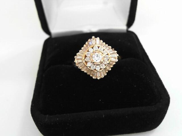 Lady's Diamond Cluster Ring 37 Diamonds .84 Carat T.W. 14K Yellow Gold 4.2dwt