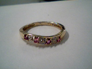 Synthetic Ruby Lady's Stone & Diamond Ring .001 CT. 10K Yellow Gold 1.7g