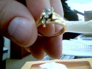 Lady's Diamond Solitaire Ring 2 Diamonds .40 Carat T.W. 14K Yellow Gold 4.8g