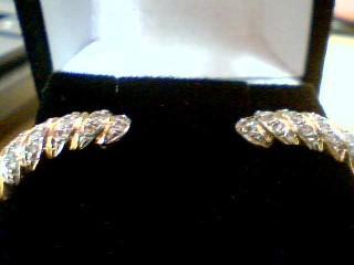 Gold-Diamond Earrings 28 Diamonds .28 Carat T.W. 14K 2 Tone Gold 2.5g