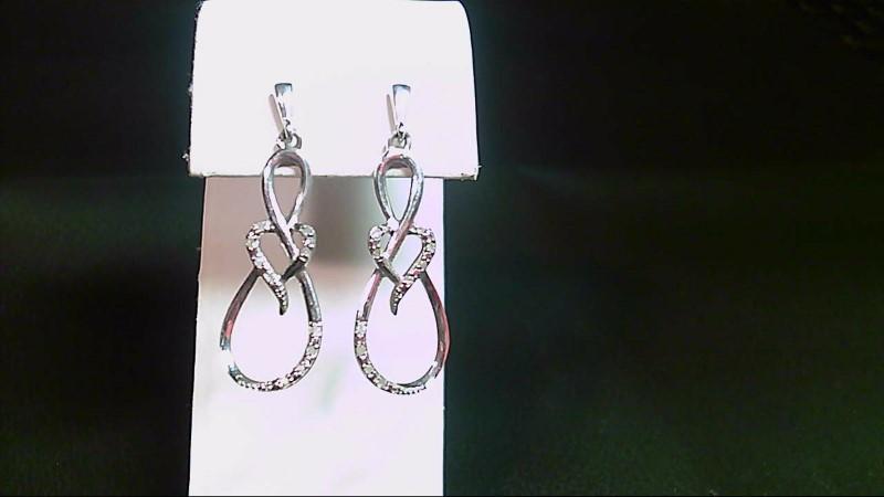 Silver-Diamond Earrings 20 Diamonds .20 Carat T.W. 925 Silver 4.9g