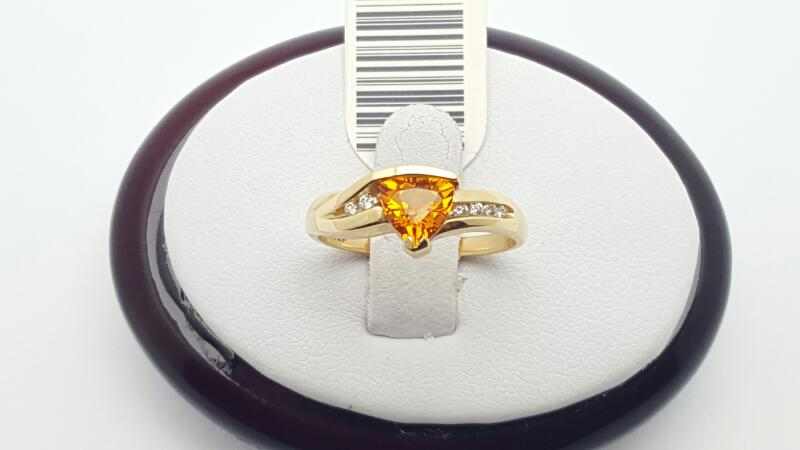 Citrine Lady's Stone & Diamond Ring 8 Diamonds .08 Carat T.W. 14K Yellow Gold 2.