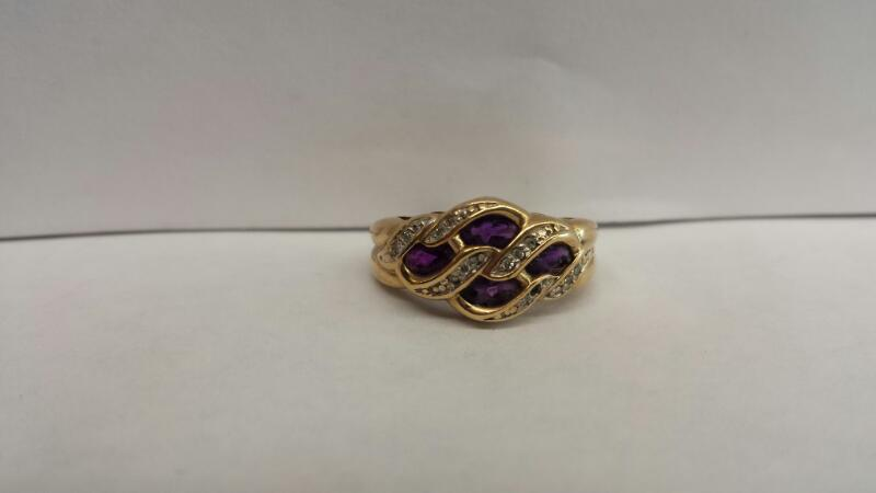 10k Yellow Gold Ring with 4 Purple Ovals and 16 Diamond Chips