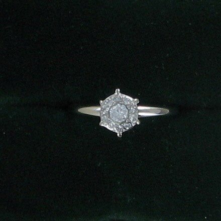 Lady's Diamond Cluster Ring .03 CT. 14K White Gold 1.5dwt