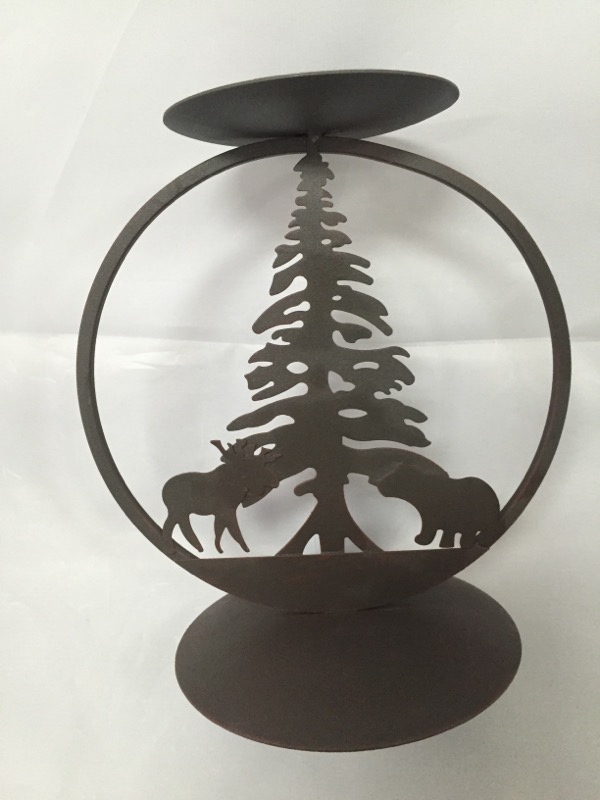 RUSTIC WOODLAND MOOSE BEAR PINE TREE CANDLE HOLDER