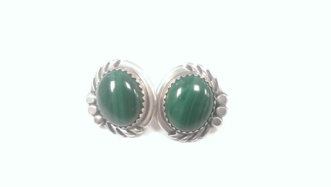 Malachite Silver Earrings 925 Silver 5.3g
