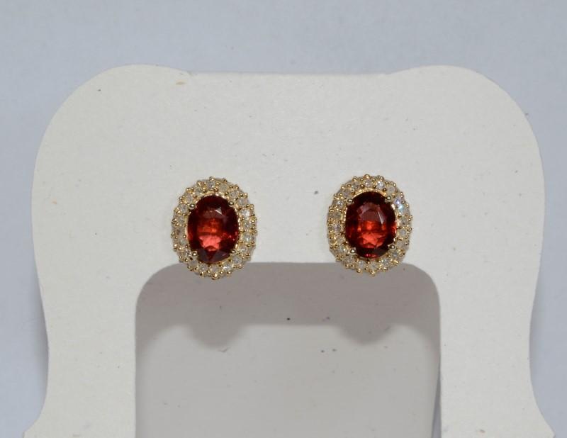 Almandite Garnet Gold-Diamond & Stone Earrings 84 Diamonds .84 Carat T.W.