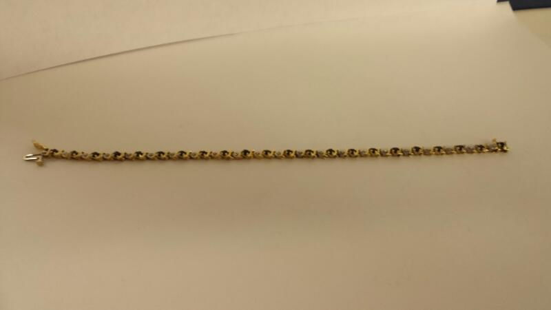 10K-YG  Synthetic Sapphire Gold-Diamond & Stone Bracelet