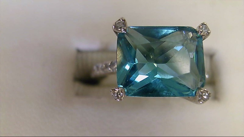 ESTATE SS SZ 5 WITH 8X6 EMERAD CUT CZ LADIES RING