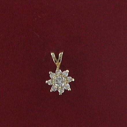 Gold-Diamond Solitaire Pendant 9 Diamonds .42 Carat T.W. 14K Yellow Gold 0.8dwt