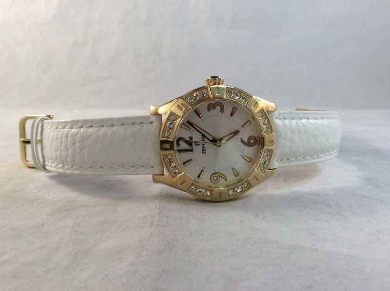 Festina Beautiful Ladies Gold Tone Watch F16580 White Leather Band Certified