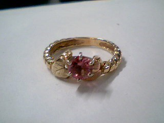 Pink Stone Lady's Stone Ring 14K Yellow Gold 2.6g Size:5
