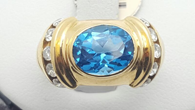 Blue Topaz Lady's Stone & Diamond Ring 10 Diamonds .55 Carat T.W.