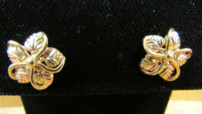 Gold Earrings 10K 2 Tone Gold 3.5g