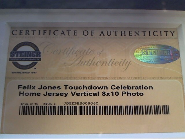 DALLAS COWBOYS FELIX JONES CARDS AND PART OF JERESEY. ALL SIGNED.