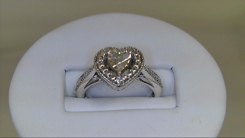 Lady's Silver-Diamond Ring 4 Diamonds .04 Carat T.W. 925 Silver 3.84g