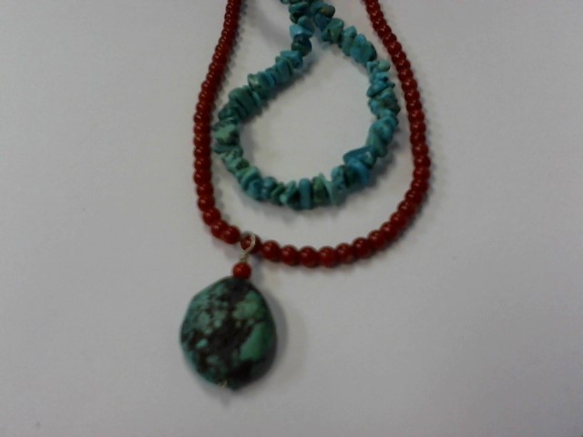 Turquoise Stone Necklace 925 Silver 31.9g