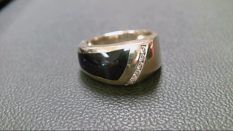 Synthetic Onyx Gent's Stone & Diamond Ring 7 Diamonds .21 Carat T.W.