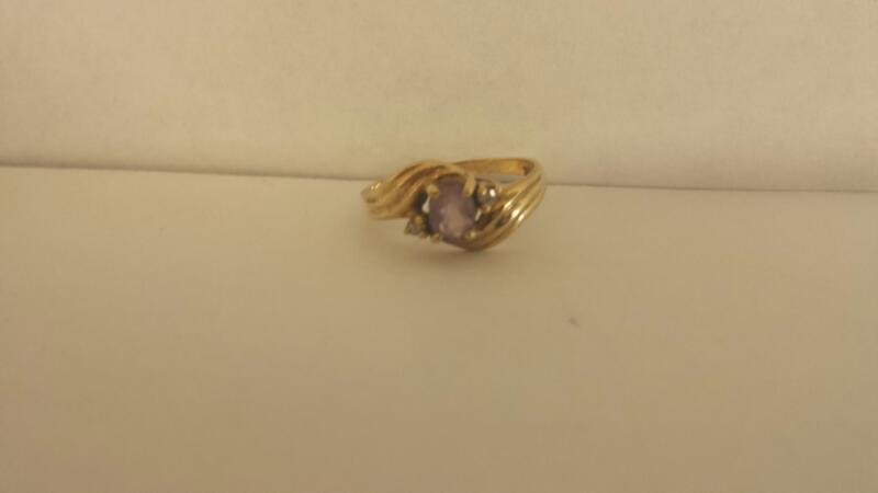 Synthetic Agate Lady's Stone & Diamond Ring 2 Diamonds .02 Carat T.W.