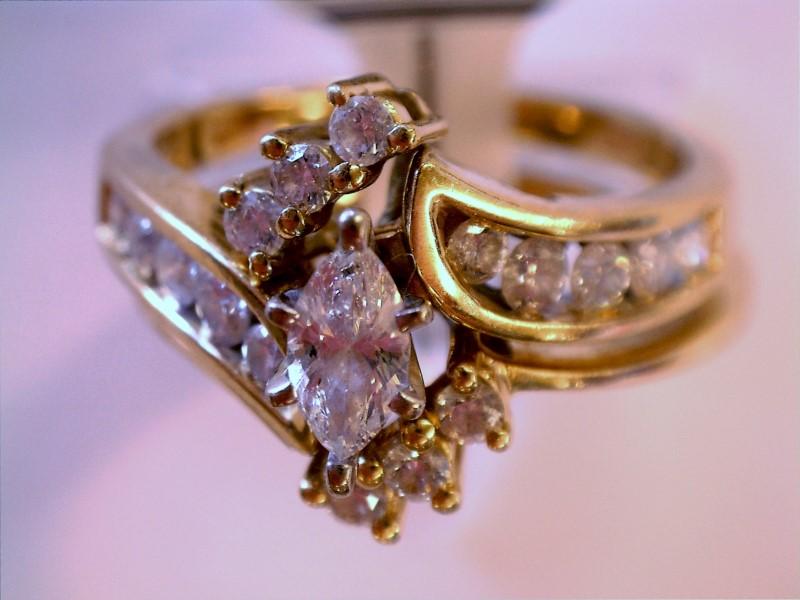 Lady's Diamond Wedding Band 17 Diamonds 1.03 Carat T.W. 14K Yellow Gold 4.44dwt