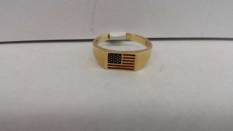 10k Yellow Gold Ring with an American Flag