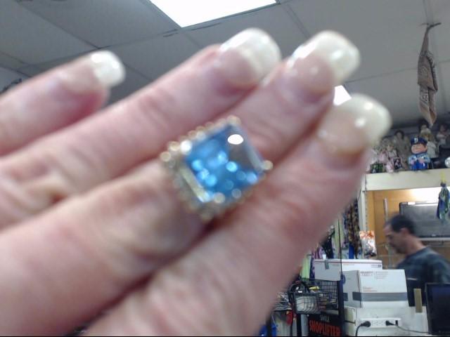 Blue Topaz Lady's Stone & Diamond Ring 22 Diamonds .44 Carat T.W.
