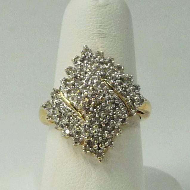 Lady's Diamond Fashion Ring 42 Diamonds .84 Carat T.W. 10K Yellow Gold 3.26dwt