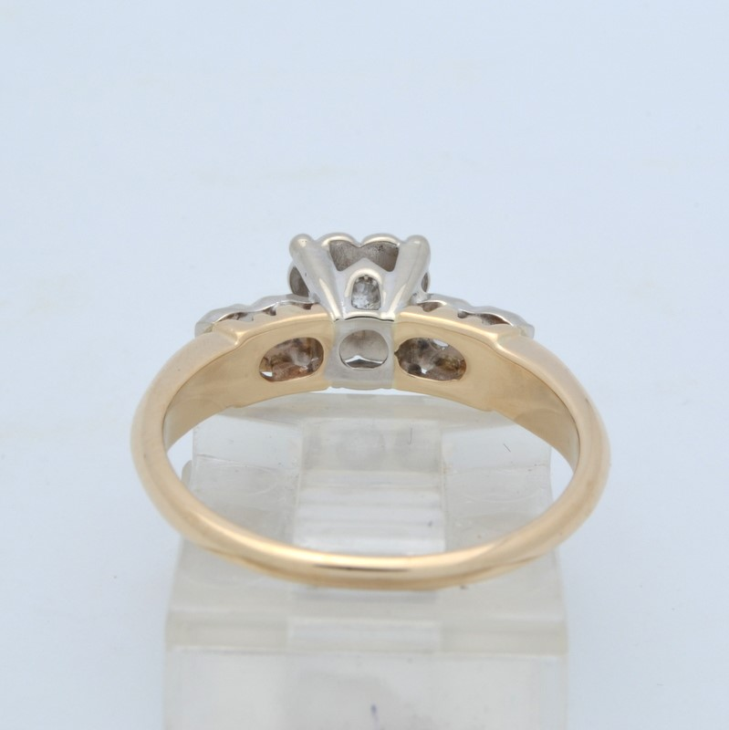 ESTATE DIAMOND RING SOLID 14K GOLD ENGAGEMENT WEDDING FINE SIZE 6.75