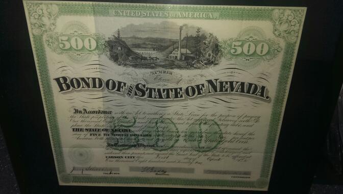 1871 $500 NEVADA STATE BOND