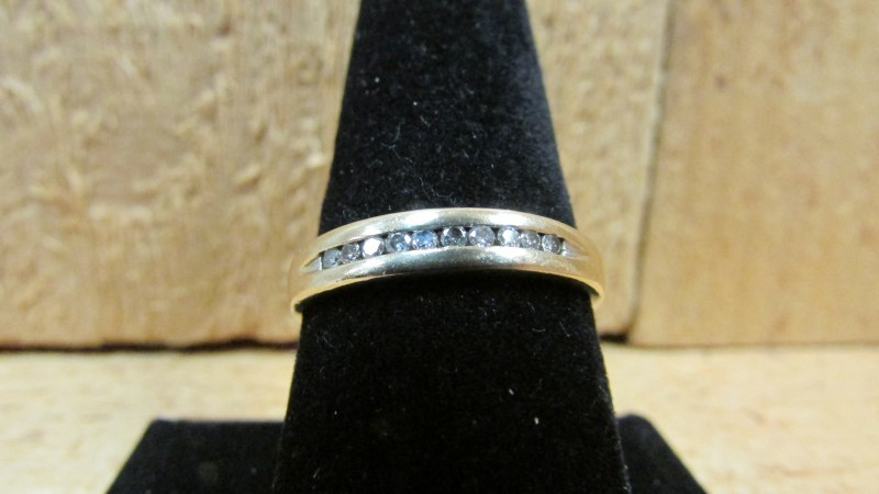 Lady's Gold-Diamond Anniversary Ring 10 Diamonds .20 Carat T.W. 10K Yellow Gold