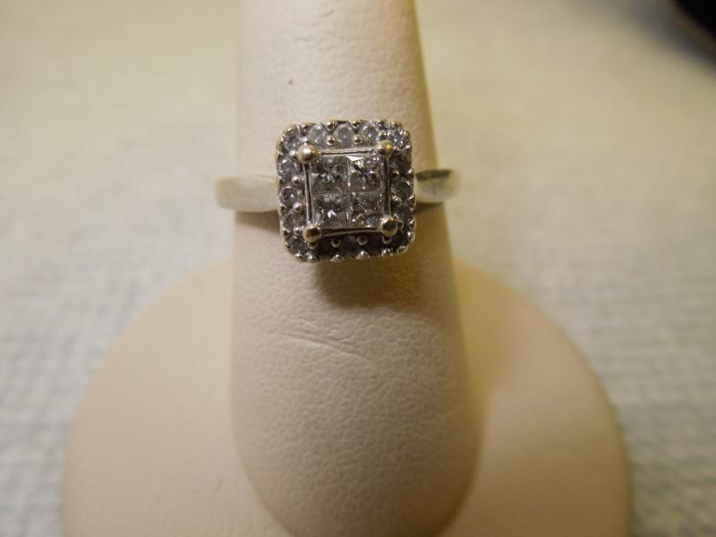 Lady's Gold-Diamond Anniversary Ring 20 Diamonds .56 Carat T.W. 14K White Gold