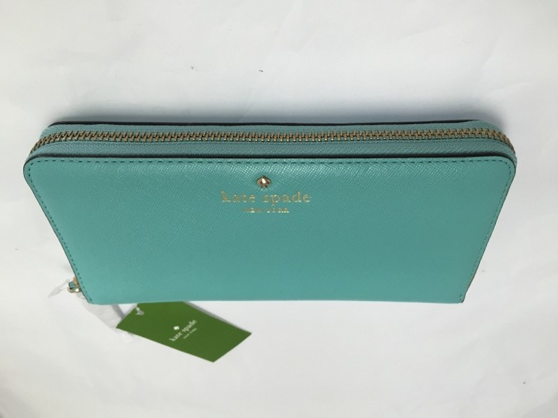 KATE SPADE LACEY WALLET IN FULL ZIPPER, WITH GOLD POLKA DOT LINENING,