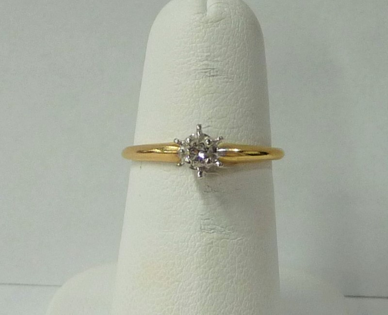 Lady's Diamond Engagement Ring .25 CT. 14K Yellow Gold 1.04dwt Size:6