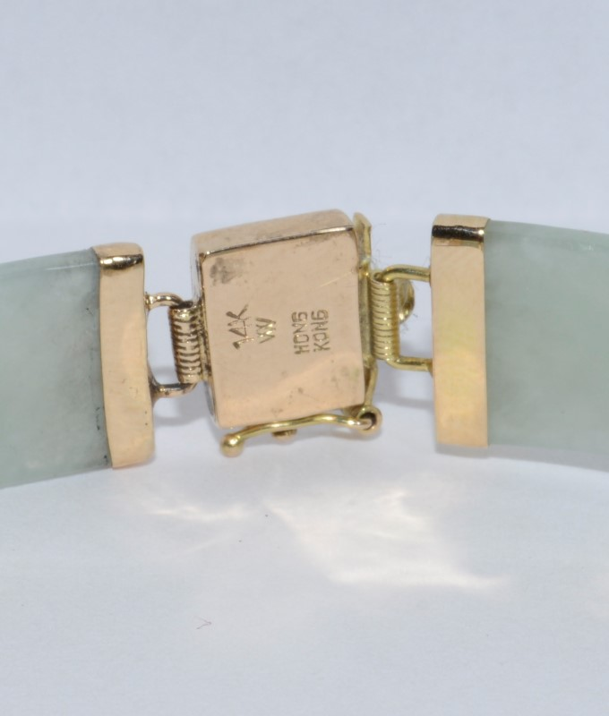 Asian Inspired 14K Yellow Gold Cabochon Jade Bracelet *HONG KONG*