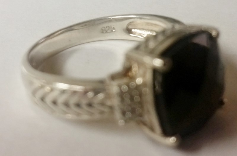 Sterling Silver Cushion Cut Multifaceted Onyx & Diamond Ring Size 7